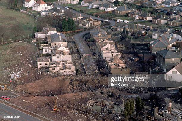 Aircraft debris and destroyed houses in Sherwood Crescent Lockerbie are seen from the air following the midair explosion of Pan Ams flight 103...