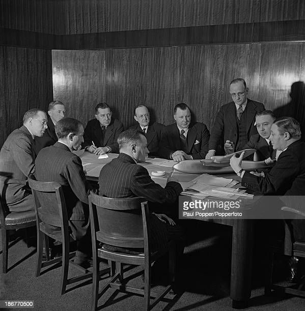 Aircraft designer Roy Chadwick at a meeting of Avro aircraft company executives at one of the company's factories in Greater Manchester March 1942...