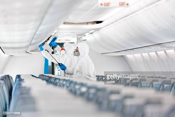 aircraft disinfection due to covid-19 - air vehicle stock pictures, royalty-free photos & images