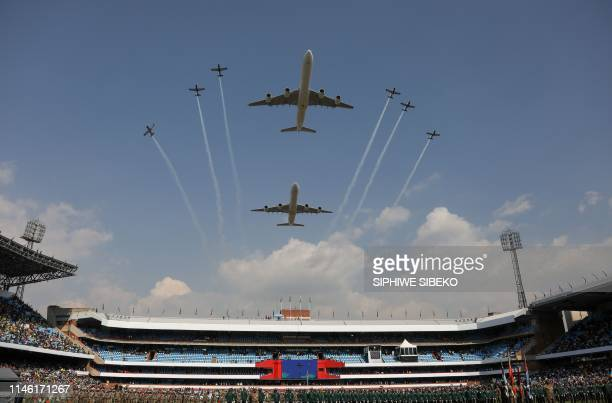 Aircraft fly past at the inauguration of Cyril Ramaphosa as South African President at Loftus Versfeld stadium in Pretoria South Africa on May 25 2019