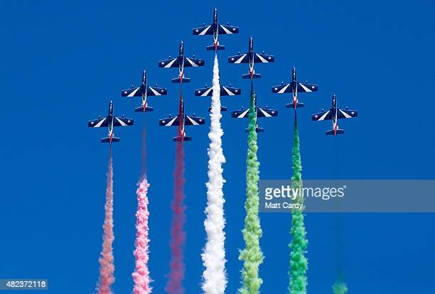 Aircraft fom the Italian Air Force's Frecce Tricolori fly at the 2015 Culdrose Air Day at RNAS Culdrose near Helston on July 30, 2015 in Cornwall,...