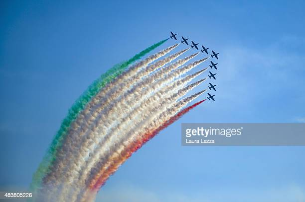 Aircraft from the Italian Air Force's Frecce Tricolori fly over the sky of Livorno on August 8, 2015 in Livorno, Italy. The Frecce Tricolori are the...