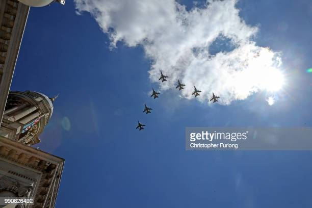 Aircraft from the Royal Air Force fly in formation over RAF Cranwell as they rehearse for their RAF100 flypast over London on July 3 2018 in Sleaford...