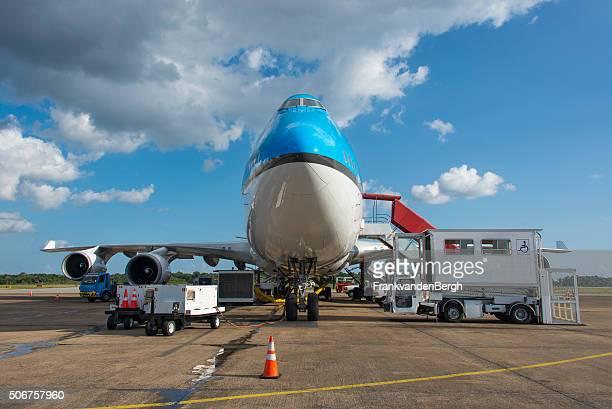 Aircraft handling at an airport frontal view