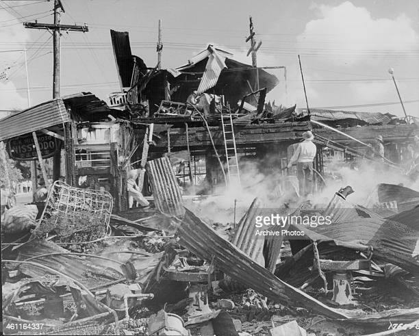 A aircraft hangar reduced to rubble following the Japanese bombing raid of Pearl Harbor World War Two Hawaii December 11th 1941