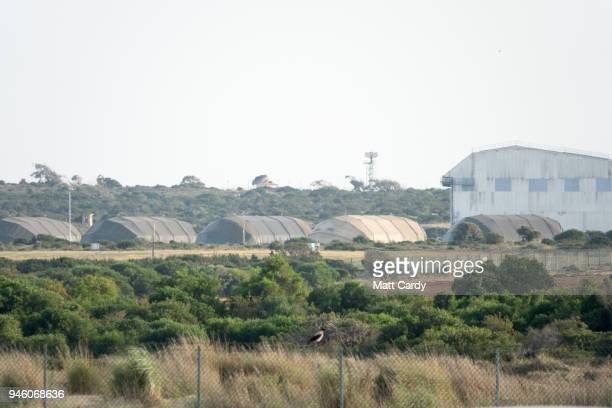 Aircraft hangers are pictured at RAF Akrotiri on April 14 2018 in Akrotiri Cyprus Early this morning the RAF launched four Royal Air Force Tornado...