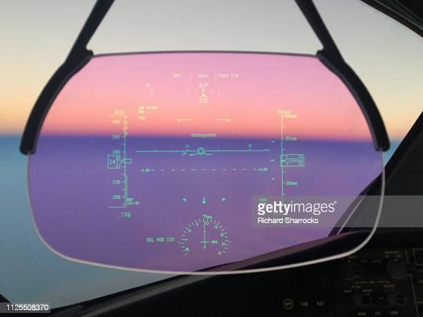 aircraft head up display - hud graphical user interface stock photos and pictures