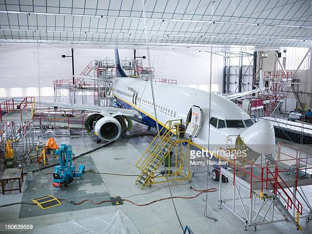 Aircraft in repair hangar