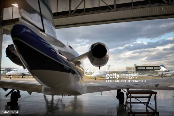 aircraft in the hangar - private aeroplane stock pictures, royalty-free photos & images