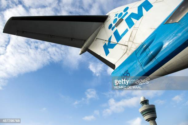 A KLM aircraft is pictured at the Schiphol airport on October 16 2014 KLM Royal Dutch Airlines have named Pieter Elbers as KLM's new chief executive...