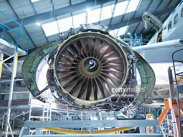 Aircraft jet engine in aircraft maintenance factory