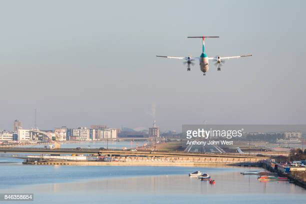 Aircraft landing at London City Airport, Royal Docks, London