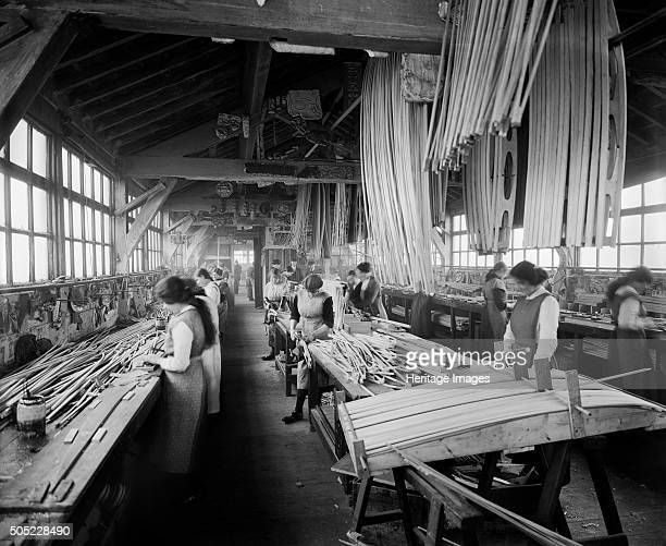 Aircraft manufacturing, Waring and Gillow factory, St Leonard's Gate, Lancaster, Lancashire, January 1917. Female workers involved in the production...