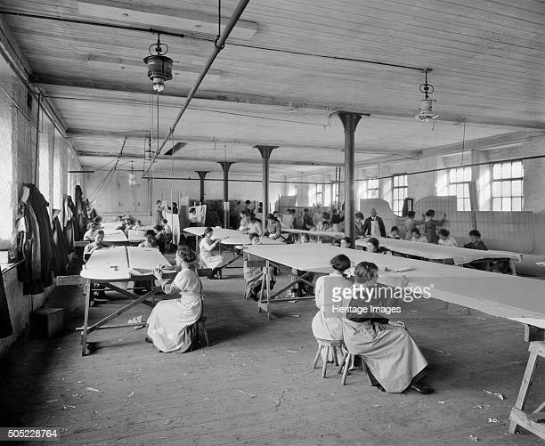 Aircraft manufacturing, Waring and Gillow factory, St Leonard's Gate, Lancaster, Lancashire, January 1917. The production of biplane wings, showing...
