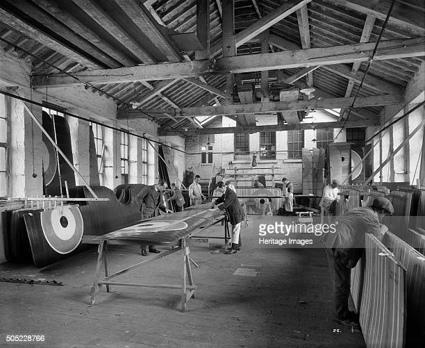Aircraft manufacturing Waring and Gillow factory St Leonard's Gate Lancaster Lancashire January 1917 Workers producing and inspecting completed...