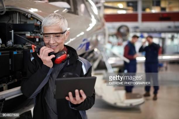 Aircraft mechanic in the hangar