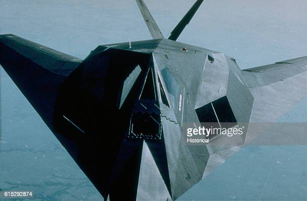 A F117A aircraft of the 37th Tactical Fighter Wing moves in for a midair refueling during Operation Desert Shield Over Saudi Arabia 1990 | Location...