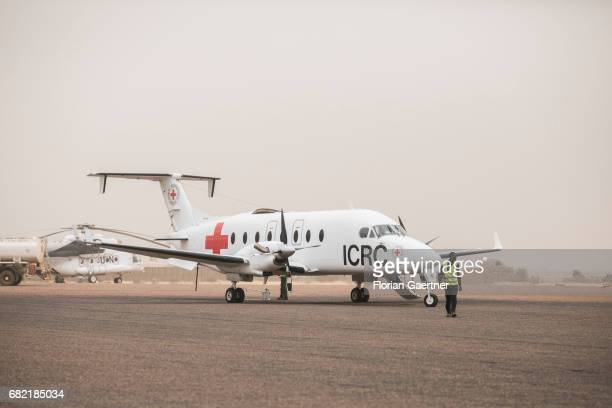 Aircraft of the ICRC at an airport in Mali on April 07 2017 in Gao Mali
