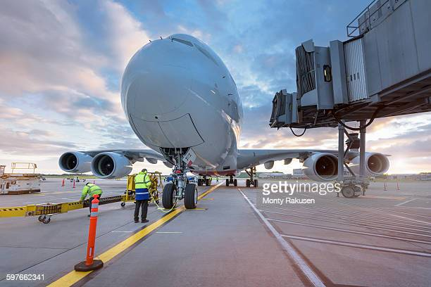 a380 aircraft on stand at airport - monty rakusen stock photos and pictures