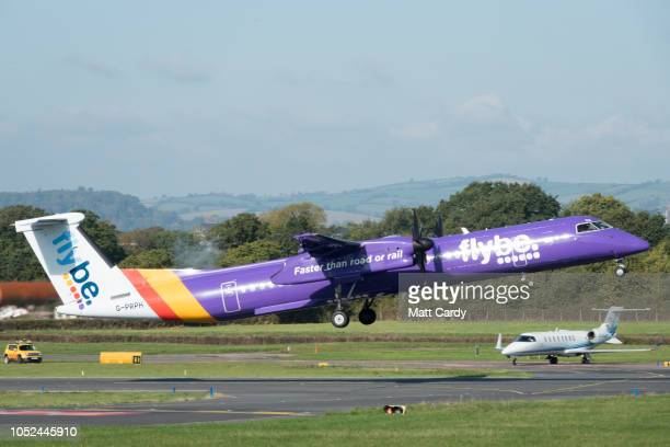 A aircraft operated by the airline Flybe taxis down the runway at Exeter Airport near Exeter on October 18 2018 in Devon England The value of shares...