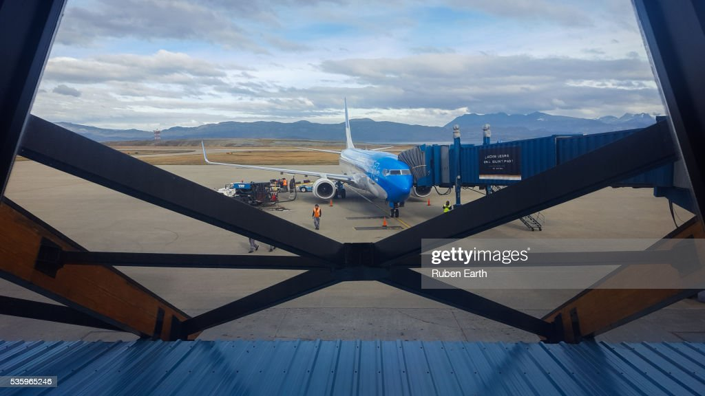 Aircraft parked at the finger : Stock Photo