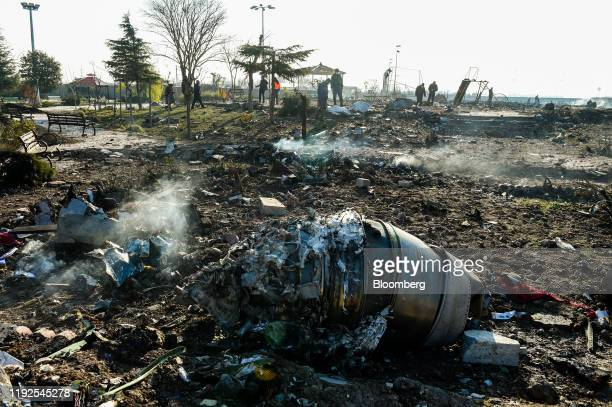 Aircraft parts from the wreckage of a Boeing Co. 737-800 aircraft, operated by Ukraine International Airlines, which crashed shortly after takeoff...