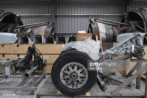 Aircraft parts removed from scrap planes are stored in a warehouse on June 9, 2010 in Kemble, England. The parts come from aircraft that have been...