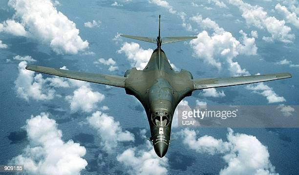 B1B aircraft passes over the ocean while on a flight out of Anderson Air Force Base Guam during Exercise Giant Warrior ''89