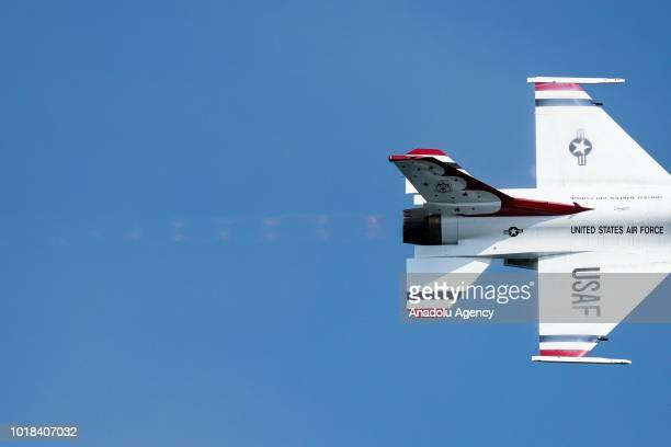Aircraft performs over Lake Michigan during a realtime rehearsal for the 60th Chicago Air and Water Show in Chicago United States on August 17 2018...