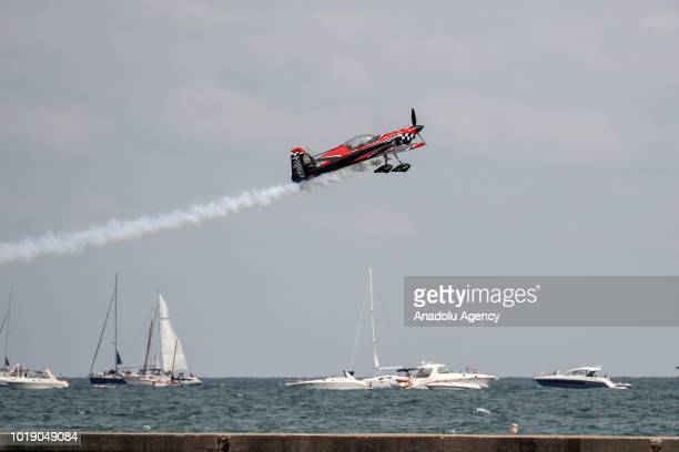 Aircraft performs over Lake Michigan during the 60th Chicago Air and Water Show in Chicago United States on August 18 2018 Aerostars AeroShell...