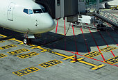 Airplane Parking Markings on Airport Tarmac Yellow Blue