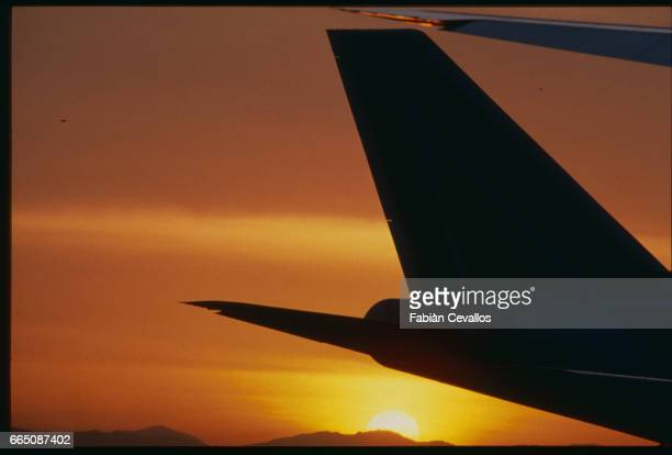 Aircraft Tail Fin at Sunset