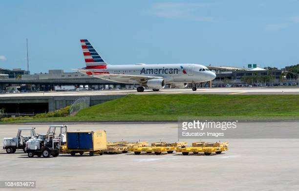 Aircraft taxiway on elevated section at Tampa International Airport Florida USA An American company Airbus A319 on the taxiway