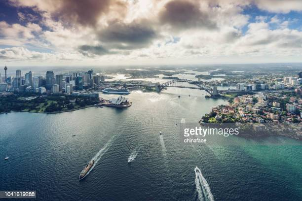 aircraft view of sydeny cityscape,australia - sydney stock pictures, royalty-free photos & images
