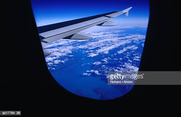 aircraft wing and clouds over southern patagonia, chile - travel14 stock pictures, royalty-free photos & images