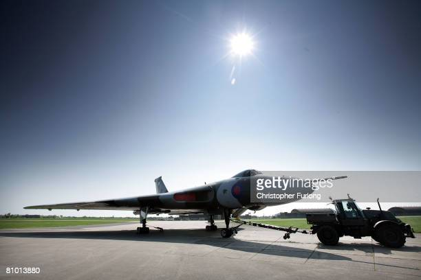 Aircraft XH588 a restored Cold War Vulcan bomber undergoes its final compass swing test by members of its crew from the Vulcan to the Sky Project at...