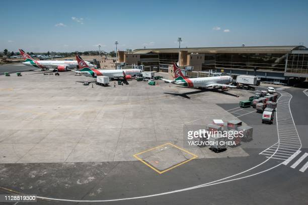 Aircrafts belonging to Kenya Airways are statione at the departure terminal during a strike by the airline workers at the Jomo Kenyatta International...