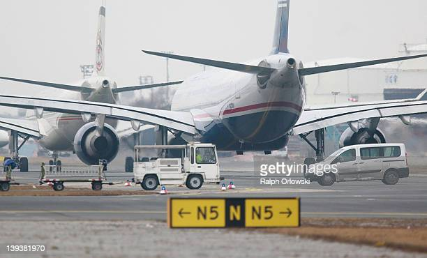 Aircrafts drive along the tarmac at Frankfurt International Airport on February 17, 2012 in Frankfurt am Main, Germany. The GdF union , which...