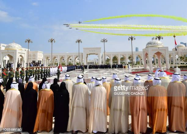 Aircrafts fly over the presidential palace in the UAE capital Abu Dhabi during a reception for Pope Francis on February 4 2019 Pope Francis arrived...