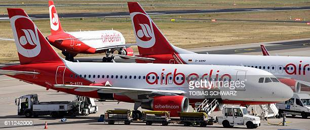 Aircrafts of German airline Air Berlin stand on the tarmac at the Tegel airport in Berlin on September 29 2016 Struggling Air Berlin Germany's...