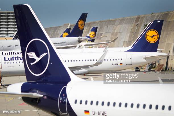 Aircrafts of German airline Lufthansa stand at the airport in Frankfurt am Main, western Germany, on June 25, 2020. - Lufthansa's top shareholder on...