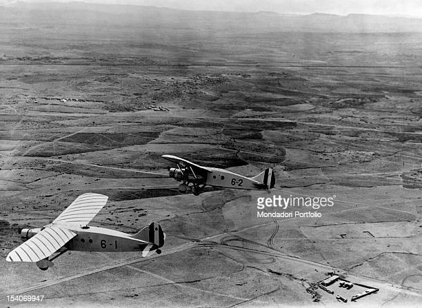 Aircrafts of the Italian air force in flight during the Second ItaloEthiopian War The aircraft on the left of the Sixth Squadron La Disperata is...