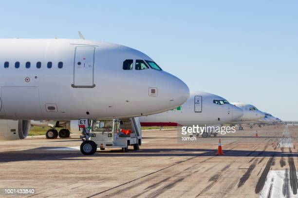 aircrafts on the parking lot at the boryspil international airport, ukraine - airport tarmac stock pictures, royalty-free photos & images