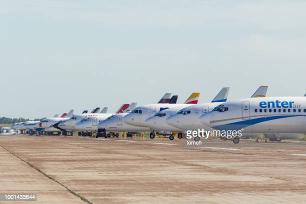 aircrafts on the parking lot  at the boryspil international airport, ukraine - stationary stock pictures, royalty-free photos & images