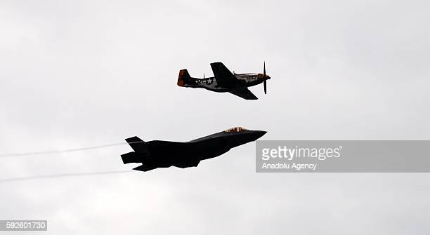 Aircrafts perform a show during the Chicago Air and Water Show on August 20 2016 in Chicago IL USA
