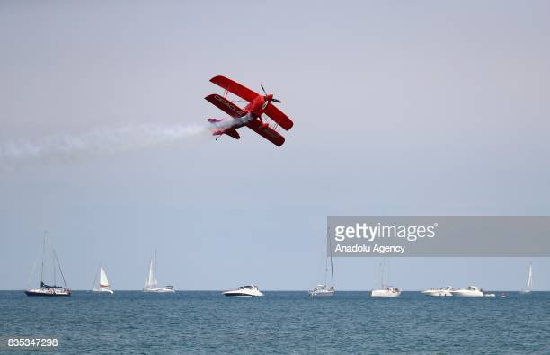Aircrafts perform during a realtime rehearsal for the 59th Chicago Air and Water Show over North Avenue Beach in Chicago United States on August 18...