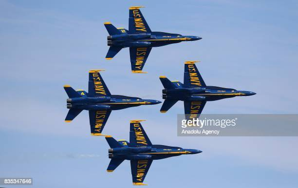 Aircrafts perform during a real-time rehearsal for the 59th Chicago Air and Water Show over North Avenue Beach in Chicago, United States on August...