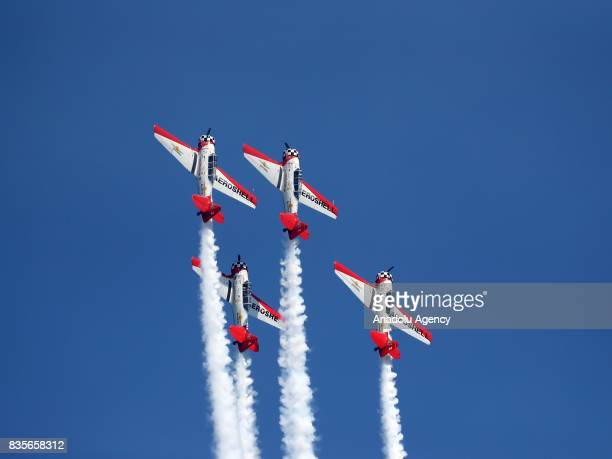Aircrafts perform during the 59th Chicago Air and Water Show, which is watched by about two million people at North Avenue Beach and around, over...