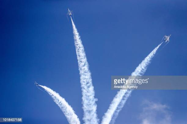 Aircrafts perform over Lake Michigan during a realtime rehearsal for the 60th Chicago Air and Water Show in Chicago United States on August 17 2018...
