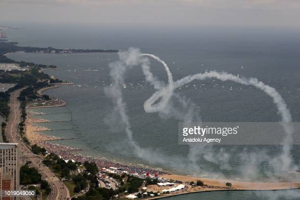 Aircrafts perform over Lake Michigan during the 60th Chicago Air and Water Show in Chicago United States on August 18 2018 Aerostars AeroShell...